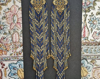 Moondance..Beaded Fringe Earrings