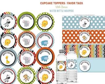 Safari cupcake toppers,  Safari birthday party, Safari party Safari invitation Jungle party chevron barnyard printable