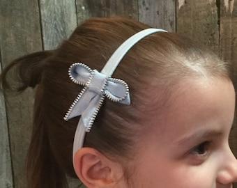 Zipper Bow Headband - very light blue