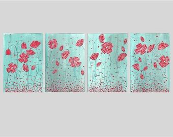 Contemporary Art Original Acrylic Painting Red Poppies Flowers Wall Art Mixed Media Collage Eggshell Mosaic Turquoise Gift Ideas 4 Panel set