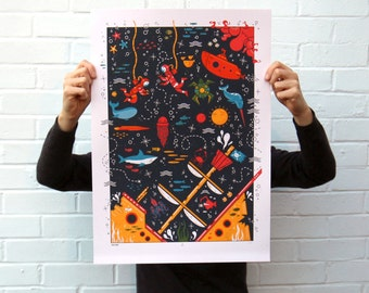 Screen Printed Poster | The Deep Silk Screen | Illustrated Hand Printed Ocean Art Print | Screen Print Poster