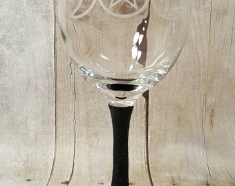 Triple Goddess, Wiccan, glass etched wine glass,  Pagan wine glass,  wine glass with glitter