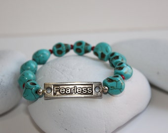 Turquoise and Red Fearless Bracelet