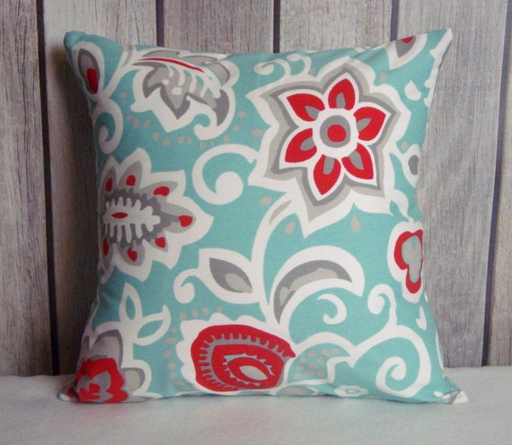 Aqua blue pillow pillow cover blue red pillow owl pillow for Red and blue pillows