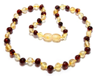 Genuine Baltic Amber Beads Baby Teething Necklace Mixed Color 32 - 34 cm Authentic RBN41