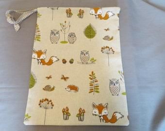 Woodland animals drawstring shoe bag