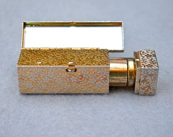 Embossed Lipstick Case with Mirror 50's Gold Tone Vintage