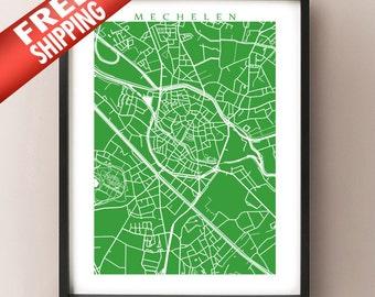 Mechelen Map Print - Malines, Belgium Poster