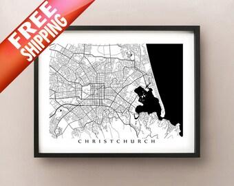 Christchurch Map Art, New Zealand Poster Print - Black and White - Canterbury Crusaders, Kiwi