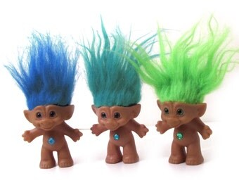 Jewel Belly Treasure Troll Dolls by Ace Novelty Co, Aqua Star, Lime Green Heart, Blue Diamond 4 inch
