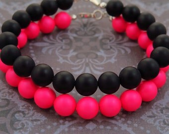 Black Onyx & Swarovski Pearl Bracelets