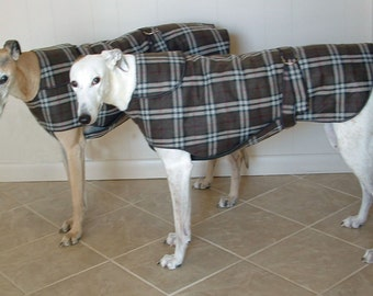 31W Green Brown Plaid Greyhound Winter Coat.  Free Shipping!