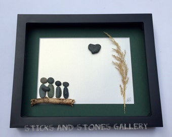Pebble Art Family Design, Custom Family Gift, Pebble Art Family, Family Pebble Art Gift, Family of Four Art, Stone Art Family Gift, Abstract