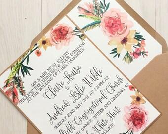 Rustic wedding invitation - pink floral wreath  - Kraft wedding invitation bundle - Rustic wedding invitation