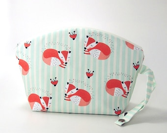 Small Diaper bag Sleeping foxes / Wet Bag / cosmetic bag / cosmetic clutch/ baby bag/nappy bag
