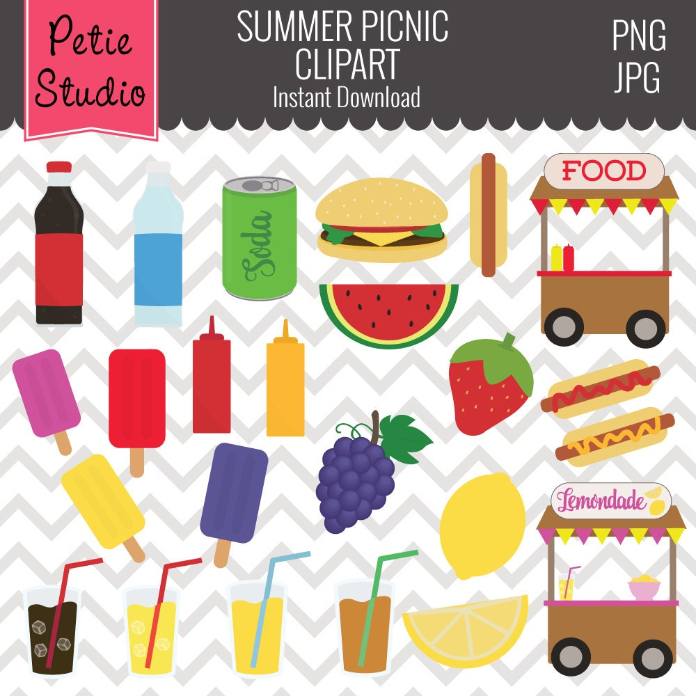 Summer Picnic Clipart Summer Cookout Clipart Grill Food