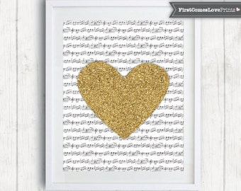 Love Music Wall Art • Graduation Gift for Teen Bedroom • Faux Gold Glitter • Music Notes Heart Print or Canvas Music Lover Gift for Teacher