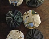 Army Print and Camouflage Patriotic Set Of 6 Fabric Yo Yos