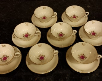 EIGHT (8) Lenox Rhodora Cups & Saucers with the Gold Mark Logo ~ Pink roses with Gold leaves