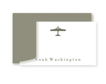 Personalized Birthday Gift Enclosure Cards, Set of 10, Preppy Airplane