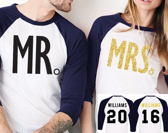 MRS Gold Bride Shirt + MR Groom Baseball Tees CUSTOM Names & Numbers Set Navy Blue, Couples Shirts, Honeymoon Shirts, Bride and Groom Gift