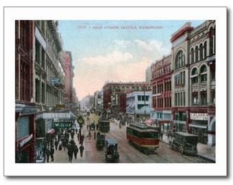First Ave., Seattle, Washington WA 1909 Vintage REPRO Postcard