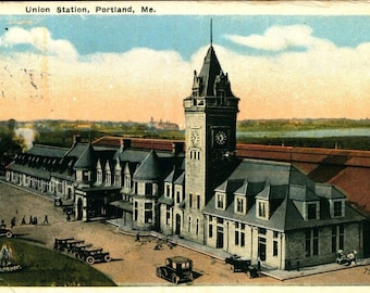 PORTLAND MAINE ME Union Train Station 1921 Vintage Postcard
