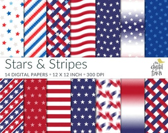 "July 4th paper - Stars and Stripes Digital Papers - 12x12"" - high resolution - scrapbooking paper - instant download - commercial use"