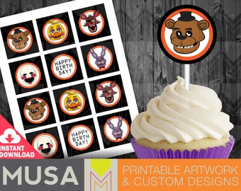Instant Download: Five Nights At Freddy's / FNAF / Cupcake toppers, stickers, labels
