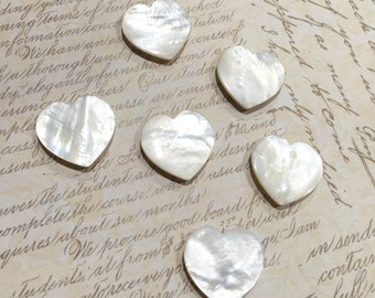 Antique MOP - Mother of Pearl Heart Shaped Buttons - Individually priced