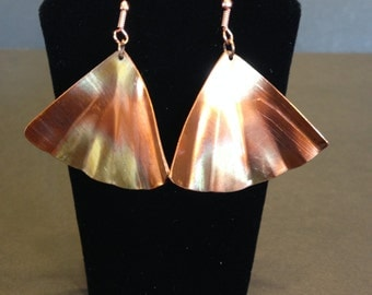 hand hammered all copper earrings