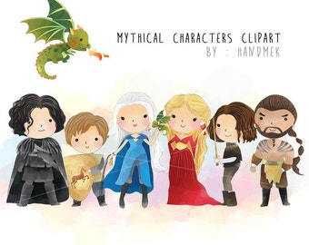 Mythical Characters clipart, Game of Thrones Inspired clipart  Instant Download PNG file - 300 dpi