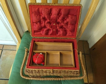 ANTIQUE SEWING BASKET. Large, Victorian, with red interior with tufted lid and handle. Wood storage shelf inside.