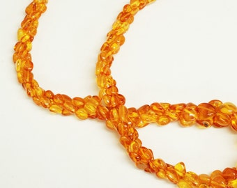 "Triple Strand Irregular Amber Nugget Shape 3x6mm 21"" 21.8gr"