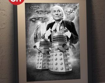 Doctor Who 'William Hartnell' The First Doctor and Daleks   A3 Poster