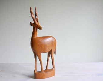 Mid century teak wood deer figurine, retro carved wood deer, 1960s gazelle or antelope figurine
