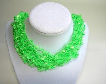 Green necklace, ladder ribbon necklace, crochet jewelry, multi stand necklace, adjustable necklace, handmade green fabric necklace,
