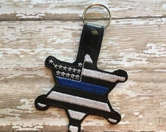US Flag 6 Point Badge - Sheriff - Thin Blue Line - Police - Snap Tab - Fob -  Digital Embroidery Design