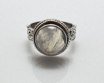 Moonstone Silver Ring - bohemian ring- Rainbow moonstone - Gypsy ring