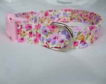 Girly Pink Floral Dog Collar