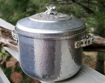 Ornate Hammered Aluminum Ice Bucket Mid Century Barware Orman Family
