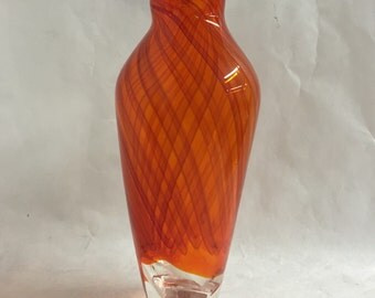 Blown Glass Orange Vase with Red Cane Stripes