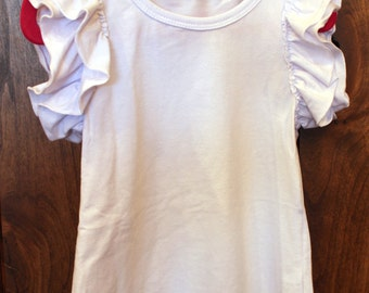 FREE SHIPPING girl ruffle top white 3t girls cotton ruffle top