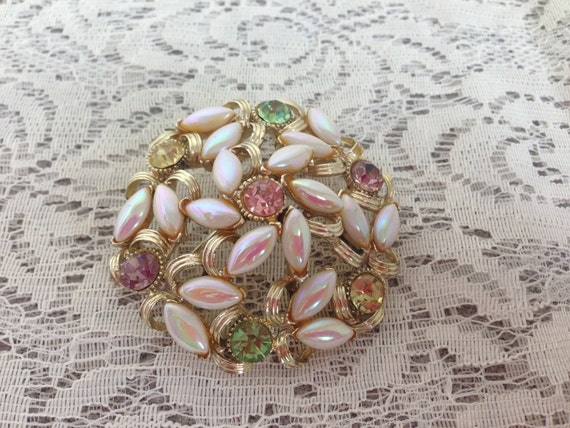 SALE Vintage BSK Brooch Oval Opalescent Pearls with Round Green and Purple Glass Stones