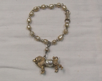 Vintage Retro Poodle Bracelet with Beads, Gold Tone
