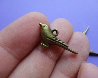 Bronze Bird Double Sided 25x12mm 6 pcs B008