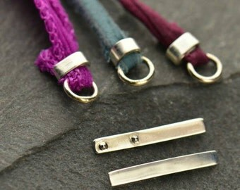 Small Crimp for Leather, Sterling Silver Leather Crimp for Cord Endings, Leather and Silk Crimp Endings for Making Jewelry, Leather Findings