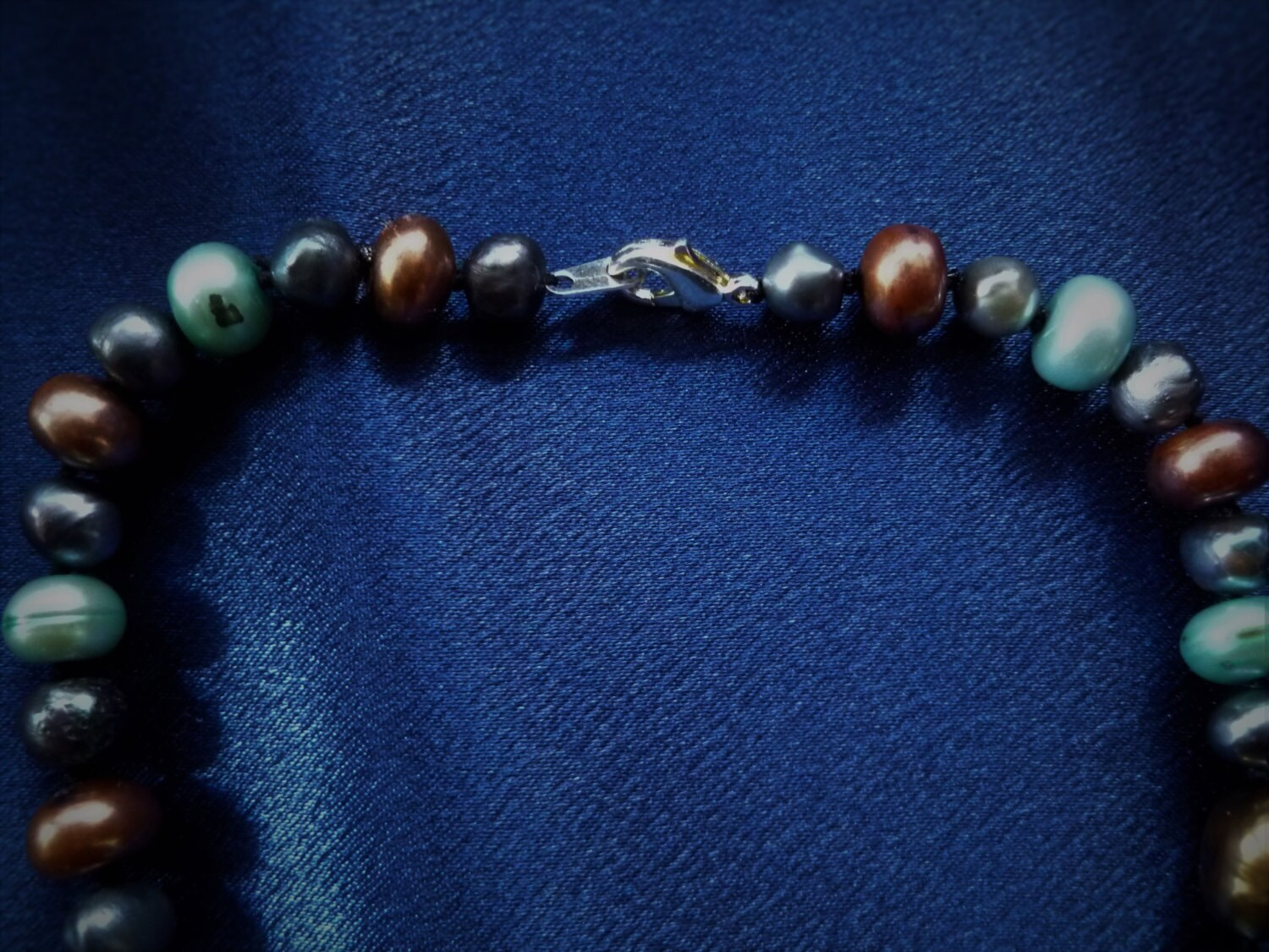 Fresh Water Pearl Necklace Dyed Pearls on Black Silk Cord Nickle Free Clasp 18 Inches Long Coffee Dark Blue Light Blue Black Pearls