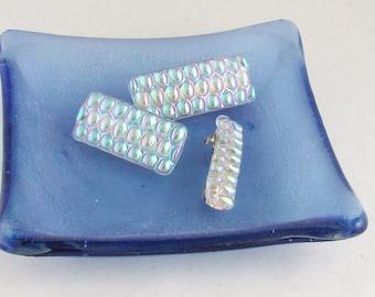 MINI barrettes - Dichroic glass barrette - small barrettes - hair jewelry (4392-4393-4394)