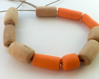 "Mixed media necklace. ""Orange Tang"""